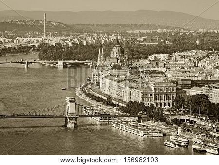 Black and white view on Pest part of Budapest Hungary