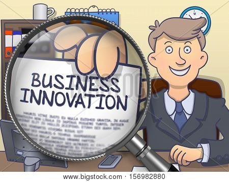 Business Innovation. Officeman Welcomes in Office and Holding a through Magnifier Concept on Paper. Multicolor Doodle Style Illustration.