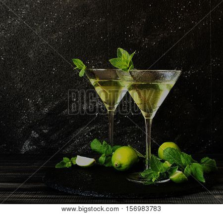 Martini Or Mint Liqueur With Lime, Selective Focus