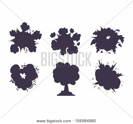 Collection of various vector boom explosives, detonation of bomb. Boom explosion fuel dynamite gas eruption. Boom explosion burst art blast dynamite explode petard splash sale speech.