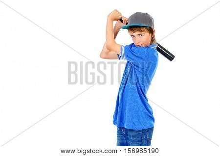 Portrait of a boy teenager holding baseball bat. Isolated over white background.