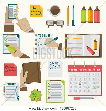 Vector notebooks agenda business notes collection. Schedule organizer calendar agenda planner business notes appointment collection concept illustration. Isolated on white.