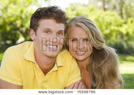 Loving young couple at the park