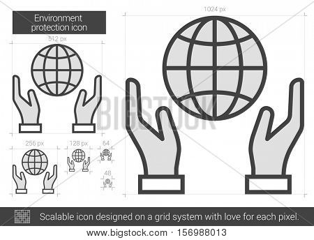 Environment protection vector line icon isolated on white background. Environment protection line icon for infographic, website or app. Scalable icon designed on a grid system.