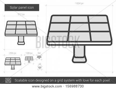 Solar panel vector line icon isolated on white background. Solar panel line icon for infographic, website or app. Scalable icon designed on a grid system.