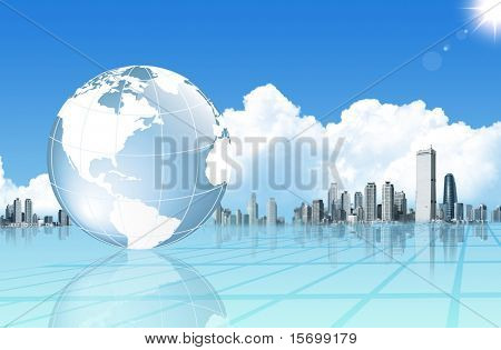 Abstract business background with globe and buildings