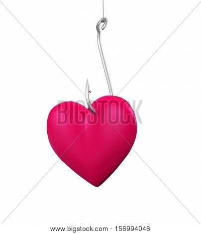 Heart Shaped on the Fishing Hook isolated on white background. 3D render