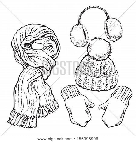 Set of bright knotted scarf, hat, ear muffs and mittens, sketch style vector illustrations isolated on white background. Hand drawn woolen scarf, hat with a pompom, mittens and ear warmers