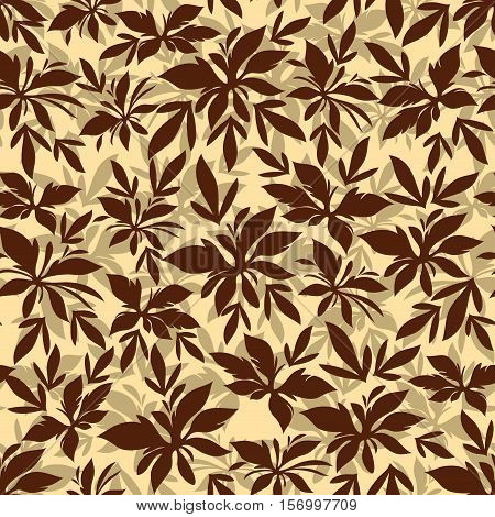Seamless Background, Tile Pattern of Repetition Leaves Brown Silhouettes. Vector