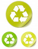 foto of recycled paper  - vector sticker recycle - JPG