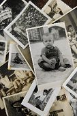 remembering childhood: stack of old photos