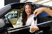 image of status  - businesswoman receiving keys of her new status car from dealer - JPG