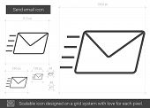 Send email vector line icon isolated on white background. Send email line icon for infographic, webs poster