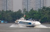 stock photo of hydrofoil  - Hydrofoil passenger ferry on Saigon River at Ho Chi Minh City Vietnam - JPG