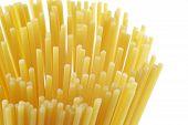 Uncooked Spaghetti Pasta On White Background poster