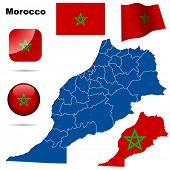 Morocco vector set. Detailed country shape with region borders, flags and icons isolated on white ba
