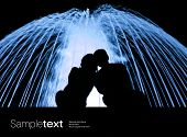 stock photo of waterspout  - Lovers nex to the blue fountain - JPG