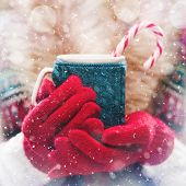 Woman holds a winter cup close up. Woman hands in woolen red gloves holding a cozy mug with hot coco poster