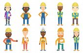 Young builder standing with folded hands. Confident builder in hard hat. Smiling builder in overalls poster