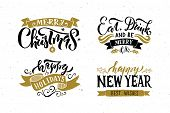 Hand Sketched Logotype, Badge/icon Typography Set For Christmas/new Year Holiday Season. poster