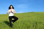 image of stress relief  - A woman doing yoga in a meadow - JPG