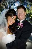 foto of wedding couple  - Beautiful wedding couple on their special day - JPG