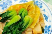 picture of wanton  - Tasty delicacy of steamed dumplings and green vegetables - JPG