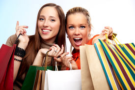 picture of teenage girl  - Two happy teenage girls on a shopping - JPG