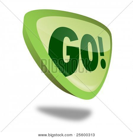 green go button with perspective