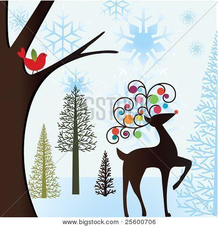 winter scene with bird and reindeer