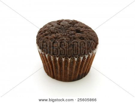 chocolate muffin isolated on white
