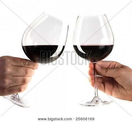 two hands cheering with glasses of red wine isolated on white