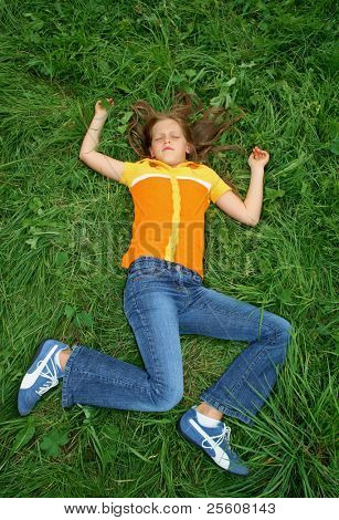 girl lying on her back in strange pose, either sleeping, injured or dead