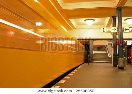 underground train coming into station