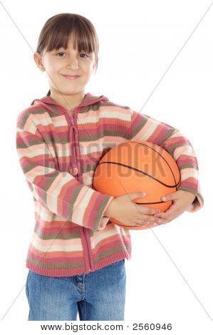 Girl Whit Ball Of Basketball
