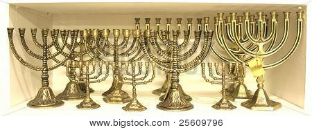 golden colour jewish chandelier menorah