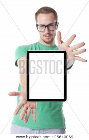 Smart Man With Tablet Computer