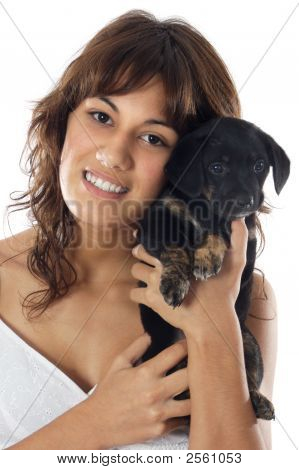 Woman Whit Her Dog