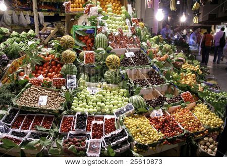fruit market at night, taksim, istanbul, turkey