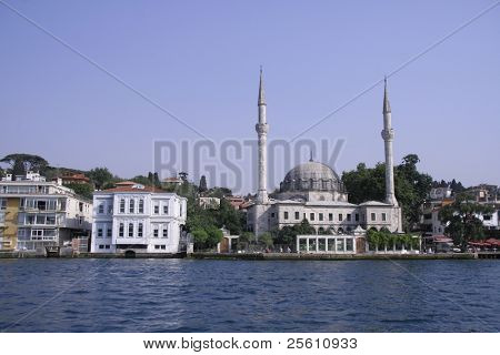 mosque and houses on the bosphorus, istanbul, turkey
