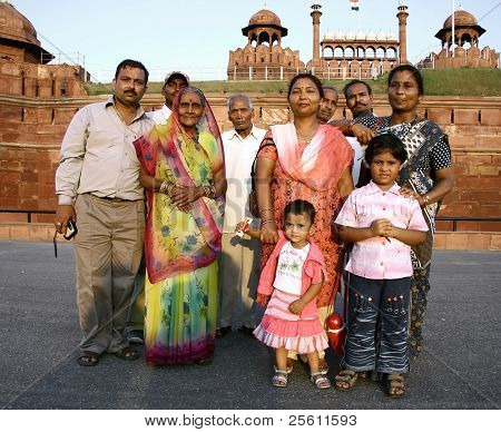 indian family at the red fort, delhi, india