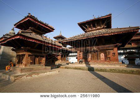 pagodas in durbar square in kathmandu, nepal