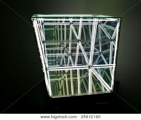 Abstract light structure with infinite mirror reflections