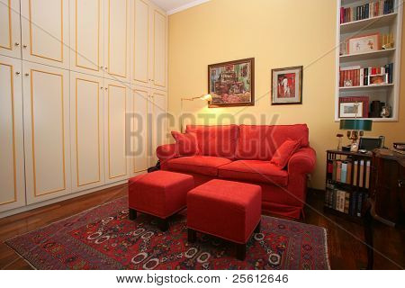 Klassischer Stil-Studie mit Einbauschrank und sofa