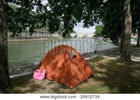 Homeless tent on the bank of the seine in Paris, France