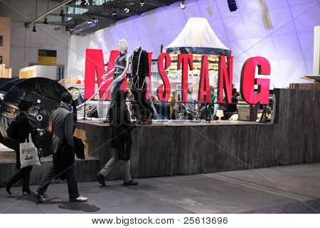 BERLIN - JANUARY 21: Mustang stand at Bread & Butter fair on January 21, 2011 in Berlin, Germany. Tens of thousands of visitors attended the tradeshow this year.