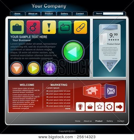 set of website elements, vector
