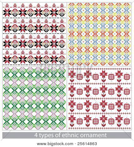 4 types of ethnic ornament. Seamless pattern set.