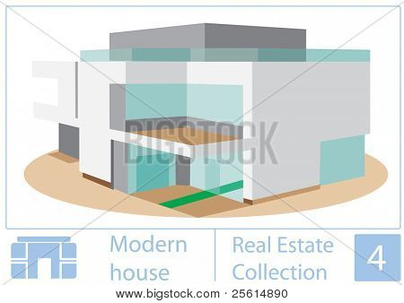 Raster version of modern house illustration from real estate collection (vector available).