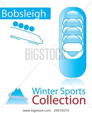 Bobsleigh from winter sports collection. sign and person icon. Raster version (vector available)